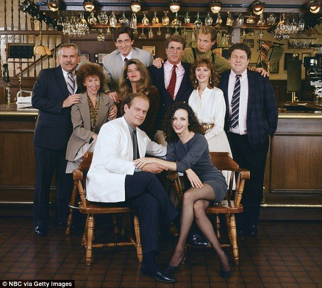 As the years went on the cast changed, but the laughs stayed the same. Pictured from left to right are: back row: John Ratzenberger as Cliff Clavin, Roger Rees as Robin Colcord, Ted Danson as Sam Malone, Woody Harrelson as Woody Boyd, George Wendt as Norm Peterson. Middle row: Rhea Perlman as Carla Tortelli, Kirstie Alley as Rebecca Howe, Shelley Long as Diane Chambers. Front row: Kelsey Grammer as Frasier Crane and Bebe Neuwirth as Lilith Sternin-Crane