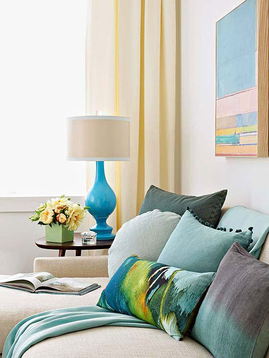 Take a few lamps to a lighting store, plan to spend $25 to $50 per lamp, and challenge yourself to pick new shades in colors you wouldn't normally choose to bring a little more color into the room. If the shade is dark, especially one for a bedroom, make sure it's opaque so the light will be directed up or down. -- Designer Jeffrey Bilhuber, author of Jeffrey Bilhuber's Design Basics, New York City/