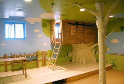 Pretty awesome playroom with a built in tree fort!