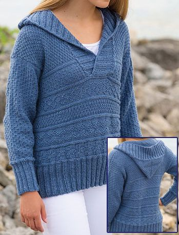 Knitting Pattern for Nordkapp Hoodie - Long-sleeved hooded pullover sweater features textured patterns reminiscent of Gansey stitches. Sizes Woman's S through 2XL