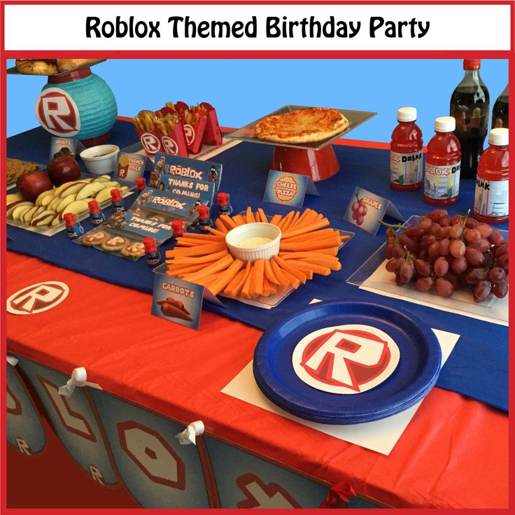 Great ideas for a Roblox themed party! Party supplies and favors available here: https://www.etsy.com/listing/464262990/roblox-themed-party-supplies