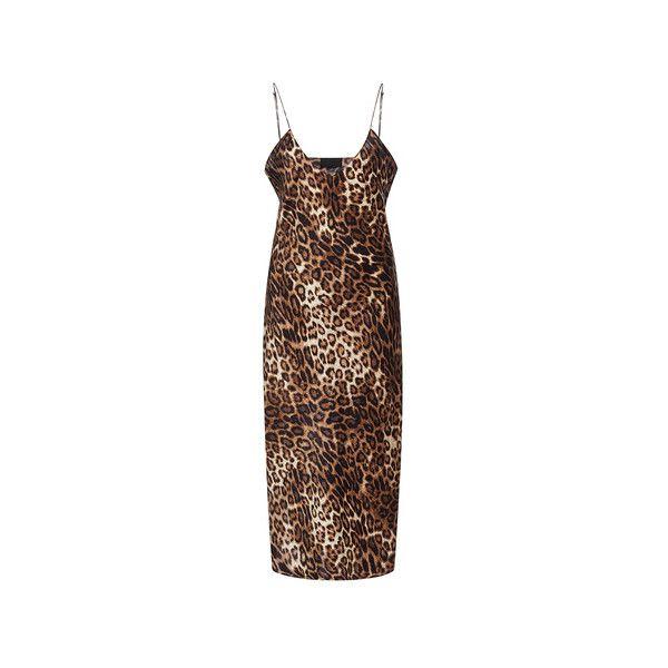 Nili Lotan     Short Leopard Cami Dress ($545) ❤ liked on Polyvore featuring dresses, cami dress, silk cami dress, short brown dress, leopard cami and brown dress