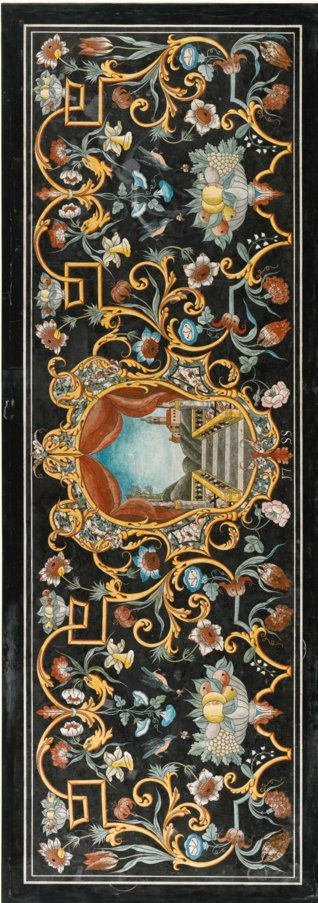An Italian scagliola table top, in 18th century style with a central cartouche depicting a staircase, balustrade and a village on a hill, dated 1755, flanked by scrolling fruit, foliage and birds within a banded border, now mounted into a larger black marble slab and a giltwood base in Louis XIV style, within a gadrooned border, on square tapering legs joined by a stretcher. 50cm high, 229cm high, 112cm deep, the top 210cm. wide, 74cm. deep; 1ft. 7¾in., 7ft. 6¼in., 3ft. 8in., 6ft. 10½in.