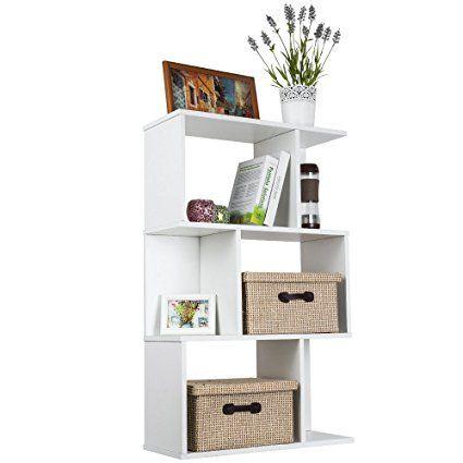 TOP-MAX Wood Bookshelf Shelves S Shape Storage Display Shelving 3 Tiers Bookcase Unit Room Divider Shelf CD DVD Book Holder Rack White for Bedroom Living Room. UK bedroom decor. It's an Amazon affiliate link.