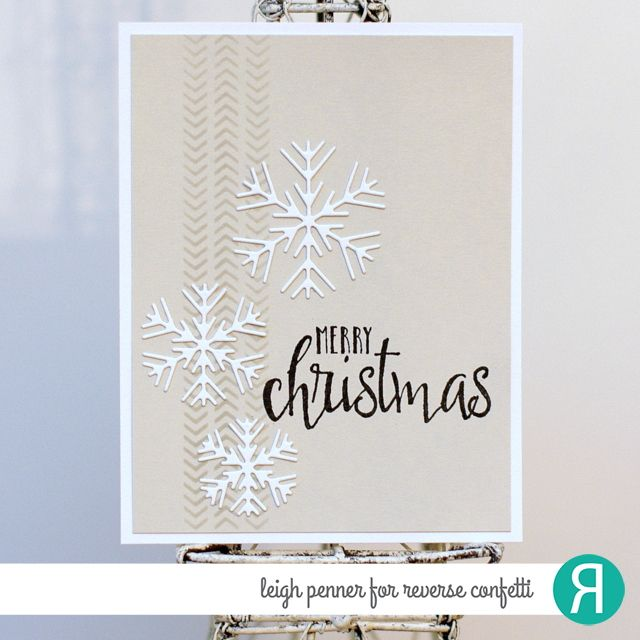 Card by Leigh Penner. Reverse Confetti stamp set: Christmas Blessings. Confetti CutsL Snowflake Trio. RC 6x6 stencil: Pointed Out. Stone Ink and Cardstock by Reverse Confetti.