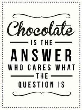 Čokoláda je odpoveď, koho zaujíma aká bola otázka. (citát od www.facebook.com/SpiritualChocoholics)