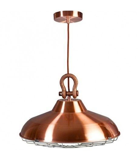 Industry industriële koperen hanglamp 46cm.