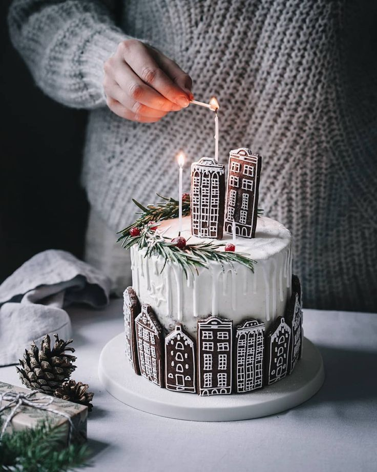 Gingerbread Houses In The City Tall Elegant Christmas Cake
