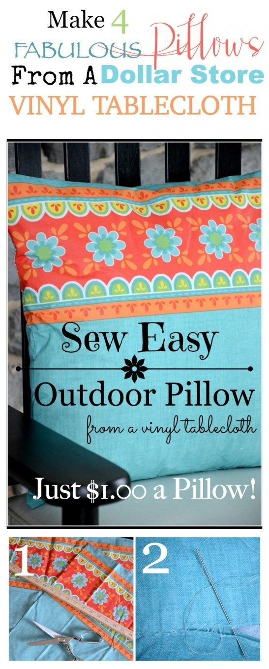 sew easy outdoor pillows make four pretty pillows from a dollar store vinyl tablecloth - Vinyl Tablecloths