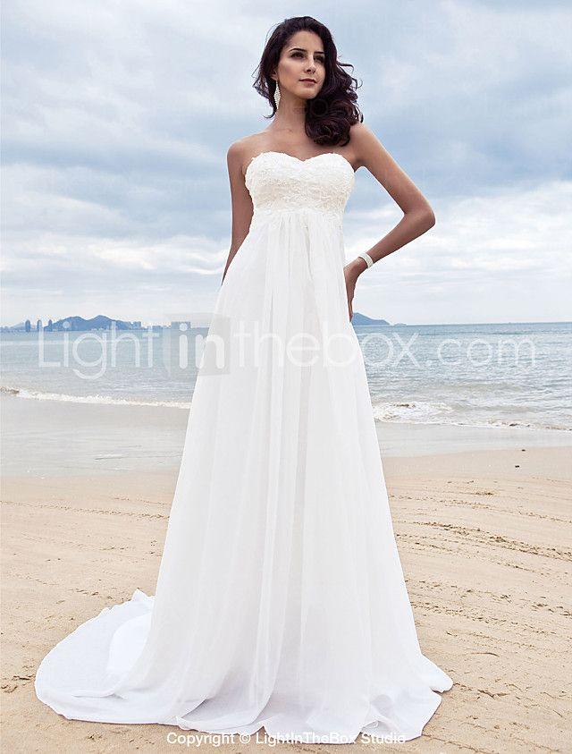 Lanting Bride A-line Petite / Plus Sizes Wedding Dress-Court Train Sweetheart Chiffon 2016 - $109.99