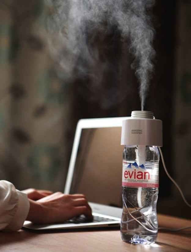 Portable Humidifier Cap // turns any bottle of water into a personal air humidifier! Clever!