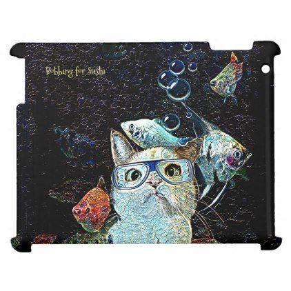 Bobbing for Sushi Case Savvy Glossy iPad Case - cat cats kitten kitty pet love pussy
