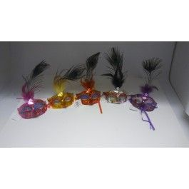 Included is one peacock mask that comes in purple,gold,pink,red and silver and Blue