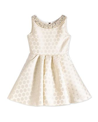 Polka+Dot-Jacquard+Swing+Dress,+Ivory/Silver,+Size+7-14+by+Zoe+at+Neiman+Marcus.