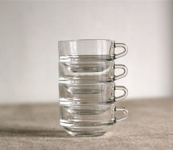 4 French Duralex stackable coffee cups in clear by voladoravintage, $19.00
