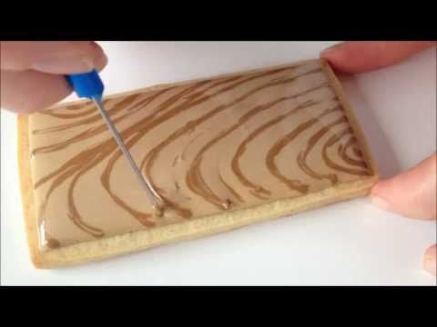 How To Make A Wood Grain Cookie With Royal Icing - YouTube