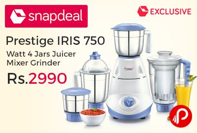 Snapdeal #UnboxDiwaliSale is offering 38% off on Prestige IRIS 750 Watt 4 Jars Juicer Mixer Grinder Just at Rs.2990. Powerful Motor, ABS Plastic Main Body Material, Cylindrical Shape Body Shape, 750 wattage Power, No of Jars: 4 Stainless Steel Jars & 1 PC Liquidizing Jar, 24 months Product Warranty, Overload Protector, 3 Speed control with incher facility.   http://www.paisebachaoindia.com/prestige-iris-750-watt-4-jars-juicer-mixer-grinder-just-at-rs-2990-snapdeal/