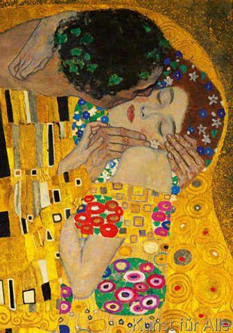 Gustav Klimt - Der Kuß (Ausschnitt)