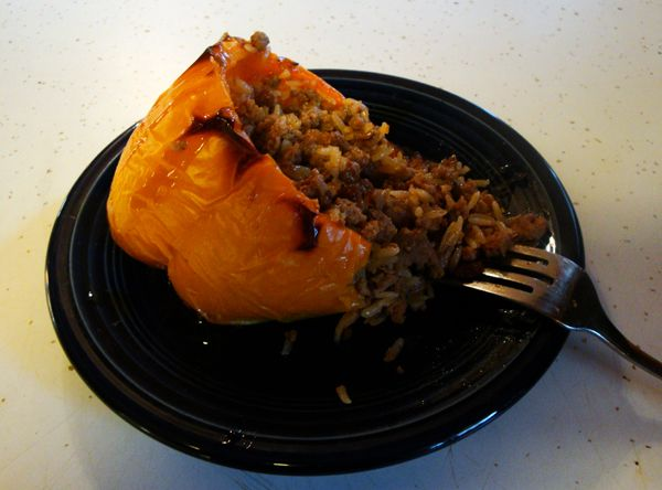 Added ground pork, a large yellow minced onion, soy sauce substitute and apple cider vinegar and brown basmati instead of jasmine riec. Spicy Asian Stuffed Peppers w/ Sweet Soy Glaze Recipe
