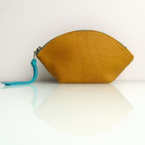 Leather  zipper pouch / bag organizer / cosmetic bag by rinarts