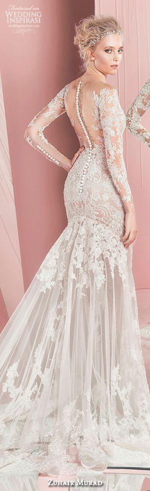zuhair murad spring summer 2016 bridal long sleeves plunging neckline lace mermaid wedding dress patricia #weddingdress #mermaidweddingdress