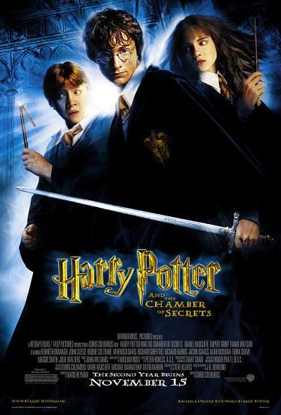 Harry Potter and the Chamber of Secrets (2002)  Harry ignores warnings not to return to Hogwarts, only to find the school plagued by a series of mysterious attacks and a strange voice haunting him.  Daniel Radcliffe, Rupert Grint, Emma Watson