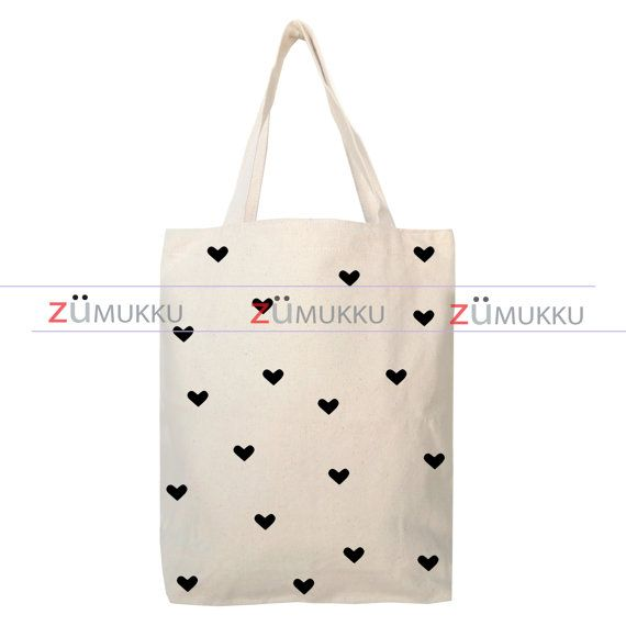 Hearts Canvas Tote Bag - Organic Cotton Grocery Bag - Large Canvas ...