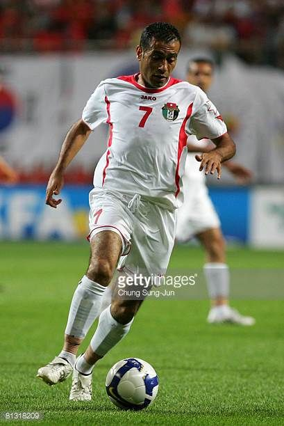 Amer Deeb Mohammad Khalil of Jordan in action during the FIFA 2010 World Cup qualifiying match between South Korea and Jordan at SangAm Stadium on...