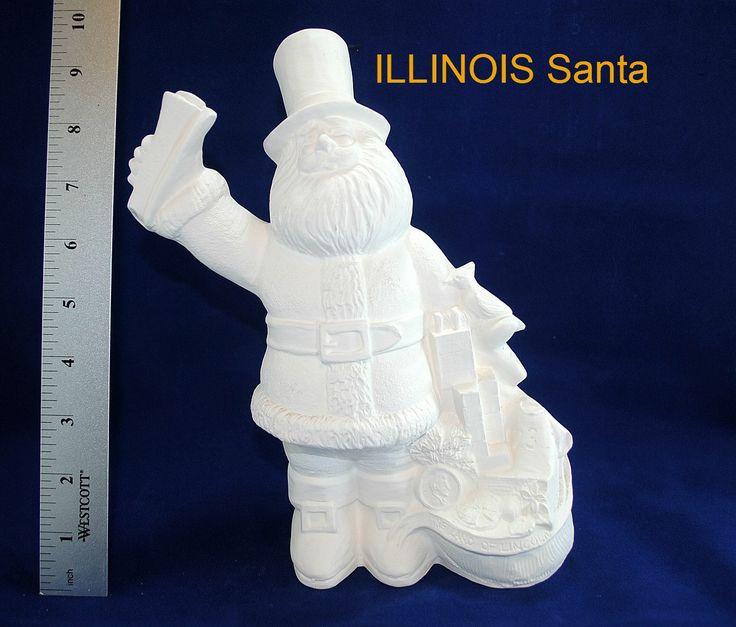 ILLINOIS State Santa in ready to paint ceramic bisque, ceramic Santa, vintage ceramic, Christmas bisque, Christmas Santa, Chicago Cubs by CWsCeramicsandBisque on Etsy