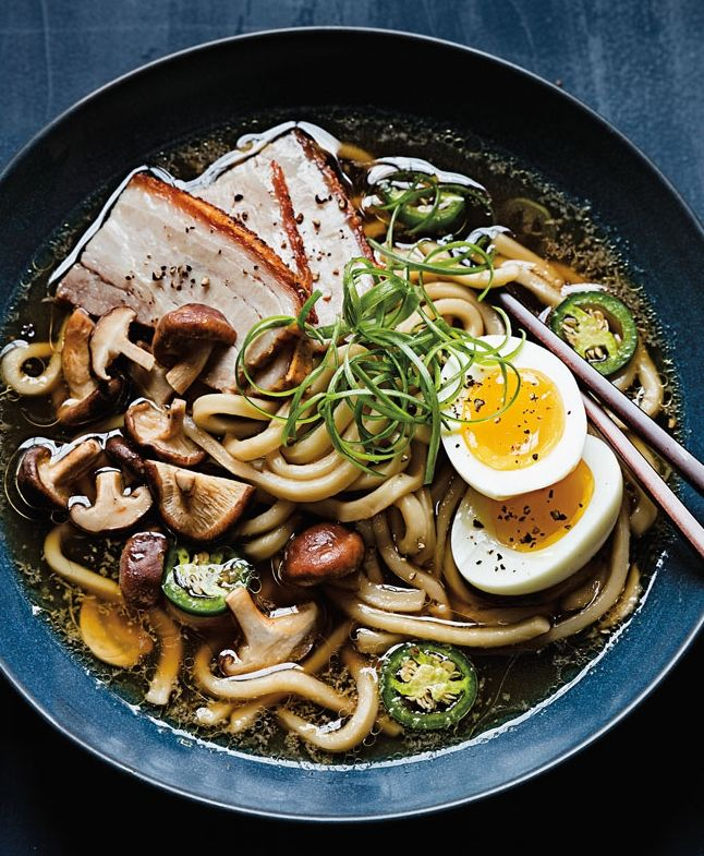 Udon Noodle Soup with Pork Belly and Soft Eggs