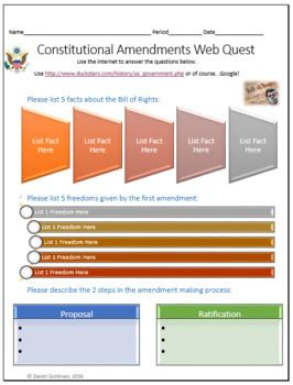 This one page (front and back) Constitutional Amendments Social Studies/Civics webquest helps students develop their internet search skills while advancing their reading and understanding of informational text.  This is a great introductory lesson to help students develop beginning or deepen knowledge of our Constitutional Amendments.