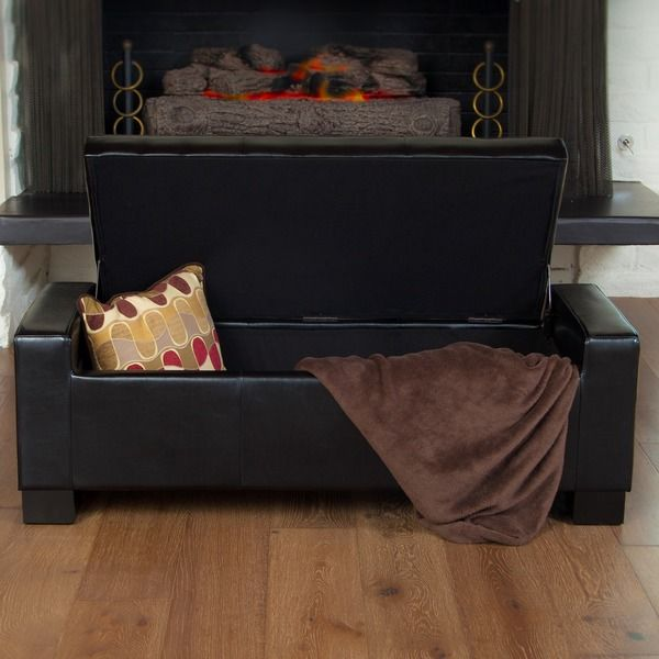 Christopher Knight Home Guernsey Black Leather Storage Ottoman | Overstock.com  Shopping - The Best - 17 Best Images About Sofa On Pinterest Furniture, Ottomans And