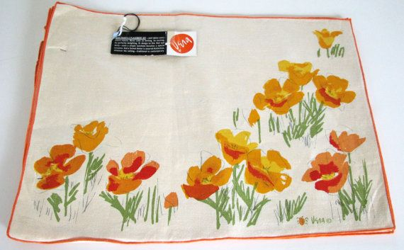 Placemats Vera Linen NOS Orange Ladybug. Table placemat set by designer Vera Neumann that still have hangtag and are New Old Stock. 8 pieces