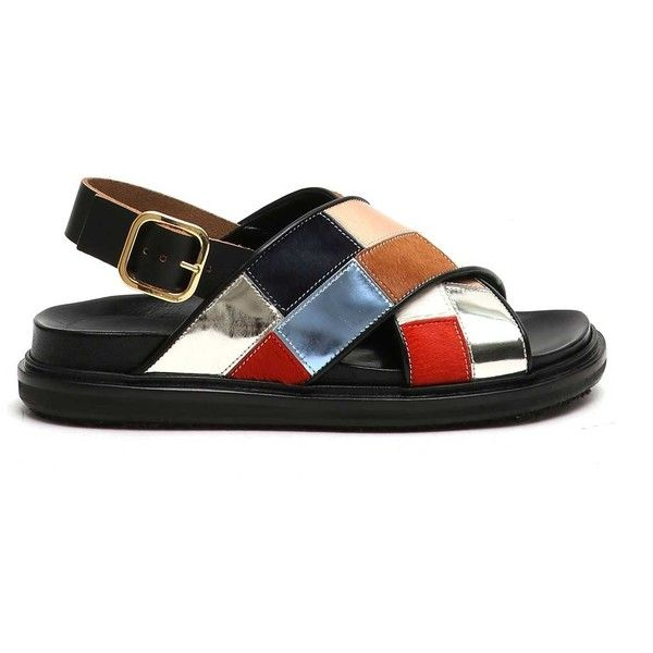 MARNI 'Fusbett' baby calf leather sandals (£498) ❤ liked on Polyvore featuring shoes, sandals, calfskin shoes, calf leather shoes, marni, marni shoes and marni sandals