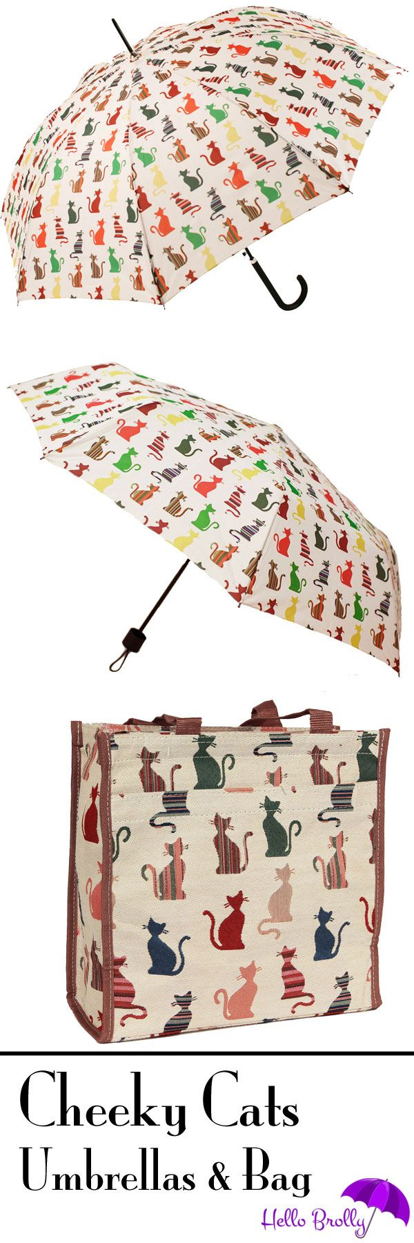 These Signare Cheeky Cats Umbrellas are so cute that we also have a matching Shopping Bag that you can buy. the brollies come in both folding and long stick styles. A perfect present for any cat lover. Buy from http://www.hellobrolly.co.uk/animal-birds-umbrellas/signare-cheeky-cat-umbrellas-bag-set