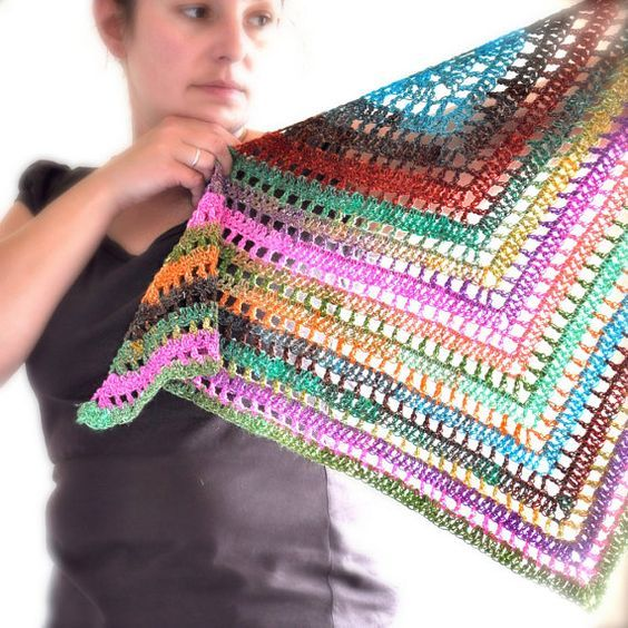 Triangular Crochet Shawl In Gypsy Style - MADE TO ORDER | Patrones ...