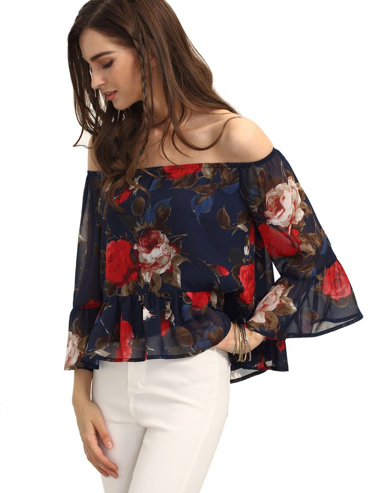 Floerns Women's Casual Floral Off Shoulder Chiffon Blouse Top,canreallymakeanoutfit—justaddskinny jeansor shorts jeans for perfect summer look.Only $17.99,find it at https://www.amazon.com/Floerns-Womens-Casual-Shoulder-Chiffon/dp/B01HPXHOAI/ref