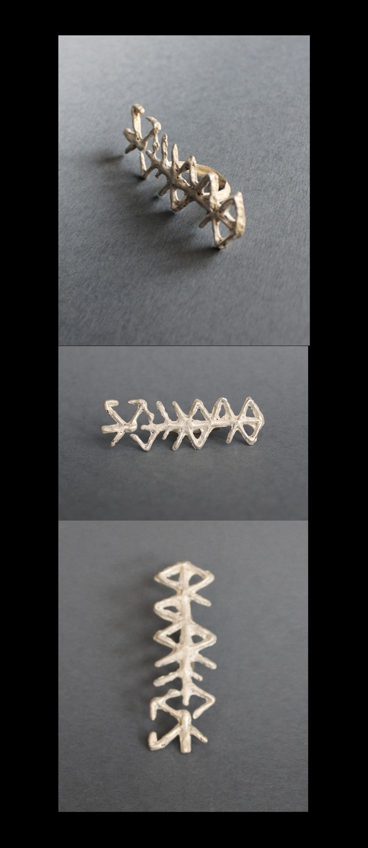 """Ring made from sterling silver. """"The first from a series of six bindrunes. Its texture is the rough, shows the origins and evolution of runes and human culture and crafts. Inequality and rough surface resembles the bark of ash, the sacred tree of the Vikings."""" Meaning behind the ring: #femalewisdom #peacefulexistence #creativity"""