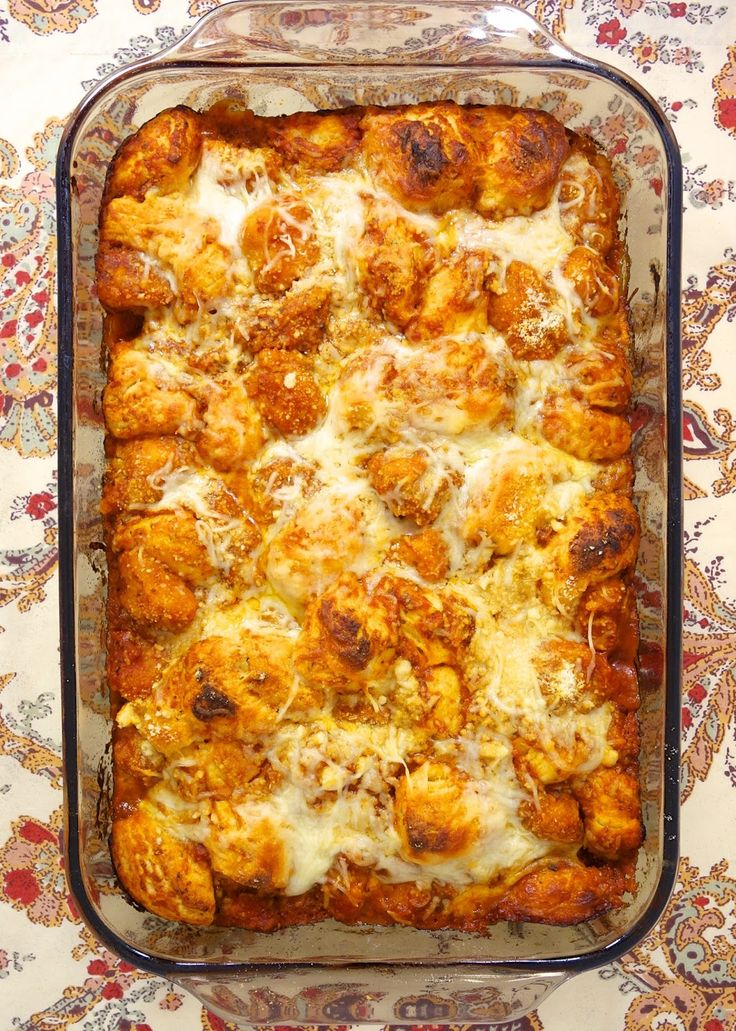 Chicken Parmesan Bubble Up | Plain Chicken#more  Uses chicken, a tube of biscuits, spaghetti sauce, mozz. and parm. cheese