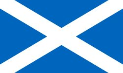 The Flag of Scotland, (Scottish Gaelic: Bratach na h-Alba,[3] Scots: Banner o Scotland), also known as Saint Andrew's Cross or the Saltire, is the national flag of Scotland