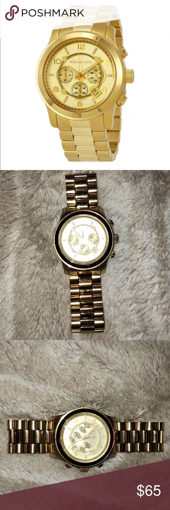Gold Michael Kors Men's Watch Gold Tone Michael Kors watch. Battery needs to be replaced and extra links can be purchased on eBay.  No box or extra links - WATCH ONLY Michael Kors Accessories Watches