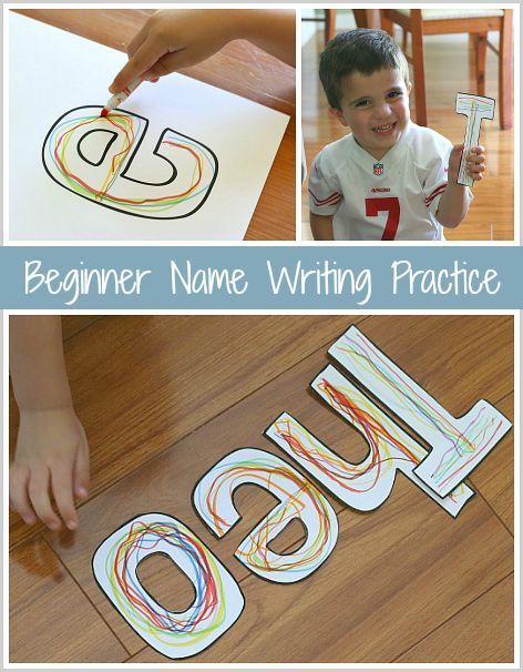 Name Writing Practice for Preschool: Simple way to introduce letter formation, name writing, and name recognition. Post includes tips on turning this ABC activity into a sensory learning activity. ~ http://BuggyandBuddy.com