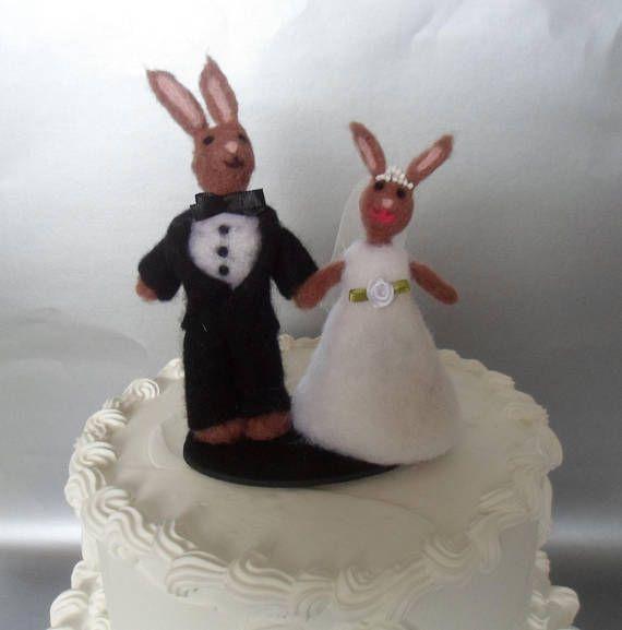 Bunny Wedding Cake Topper Needle Felted