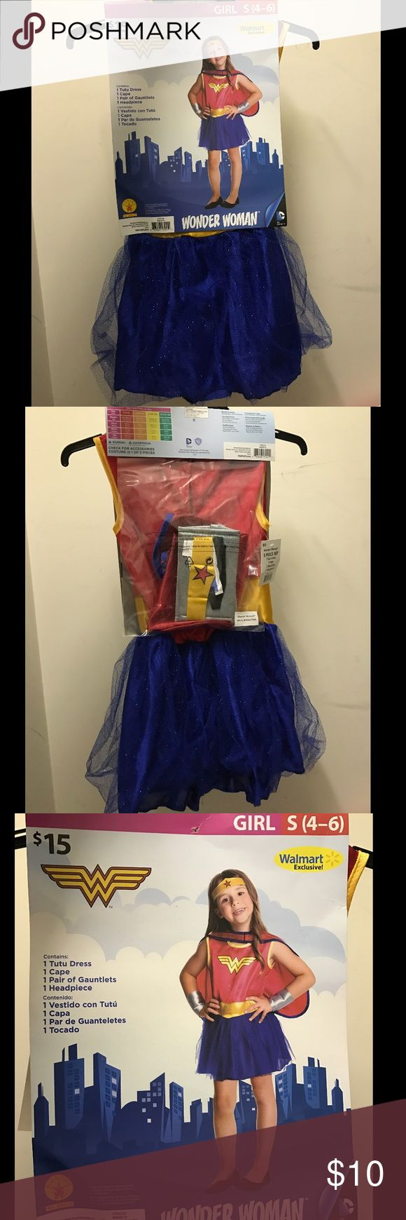 👘👑Wonder Woman👑👘 Children's costume NWT- Wonder Woman, girls size small, costume. Brand new, never worn. Bundle and save. Please feel free to make an offer, using the offer tab. Thank you and happy shopping. Walmart Costumes Superhero