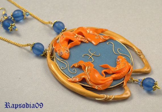 Jewelry set Polymer clay pendant earrings Zodiac pisces Star sign jewelry pisces blue orange Pisces jewelry set Valentines gift