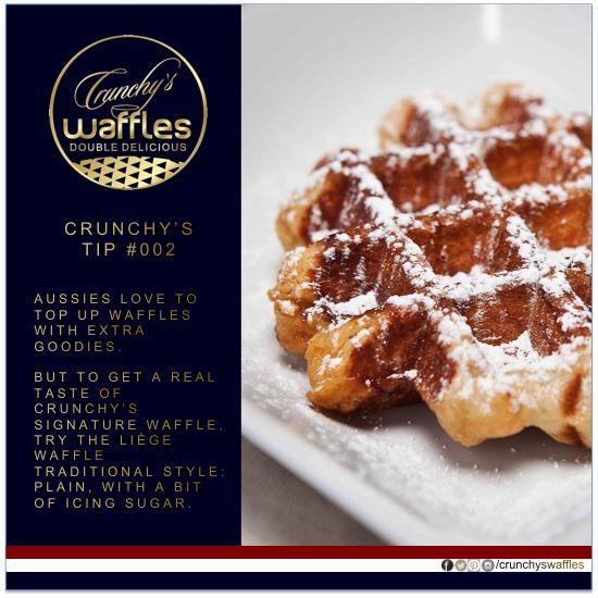 #Crunchyswaffles CRUNCHY's Waffles - Tuesday tip - Liege waffle with icing sugar