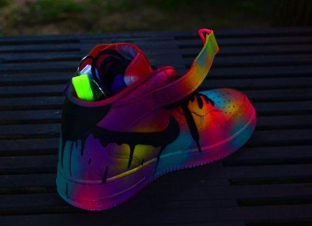 neon contrast nike air force 1 customs beautiful