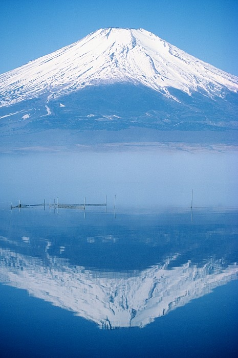 Snow Capped Mount Fuji Reflected