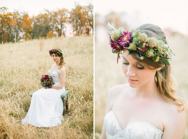 Flower crown - Fall Bohemian Wedding Inspiration captured by Love By Serena