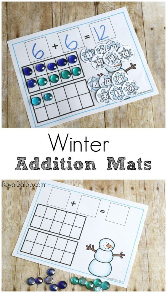 Hands on addition helps kinesthetic learners practice their math in effective ways! These winter addition mats are great for hands on learners! #mathtutoringideas
